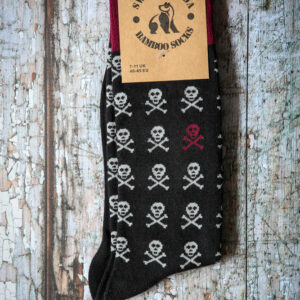 Black skull bamboo socks