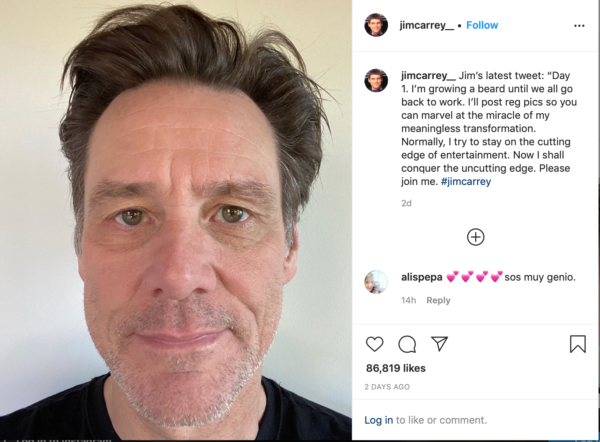 Jim Carey's instagram post on growing his beard during isolation for Covid-19