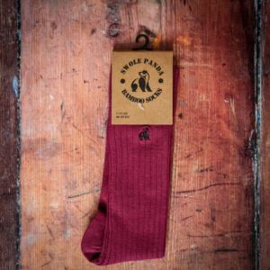 Deep burgundy ribbed socks from Swole Panda