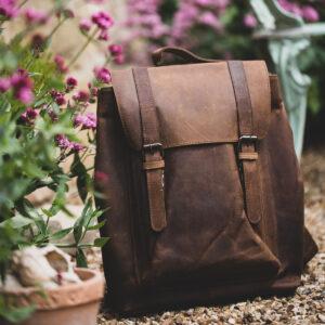 Vintage leather ashwood rucksack