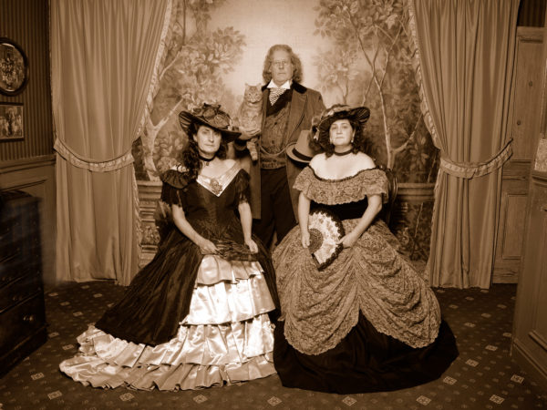 Whitby photographer Paul Anthony Wilson posing with his family dressed in Victorian clothing